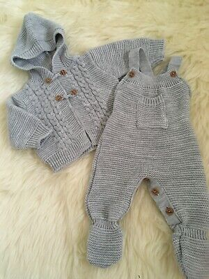 Spanish Style Baby Boys Girls Unisex Knitted Dungerees Hooded Cardigan 1-3-6-12