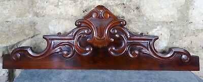 "38"" Antique French Hand Carved Wood Mahogany Pediment - 19th"