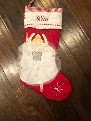 """Pottery Barn Kids quilted Angel Christmas stocking light skin mono /""""Grace/"""" New"""