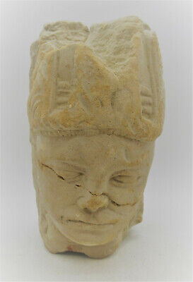 Ancient Near Eastern Roman Stone Carved Head Statue Fragment Of A Ruler