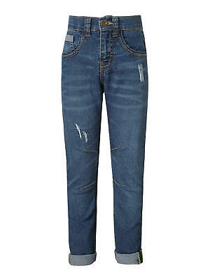 John Lewis Boys' Stretch Distressed Jeans, Blue Size Age 10 Years New Free P&P