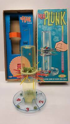 1967 IDEAL TOY CORP KER-PLUNK GAME COMPLETE BUT TATTY BOX