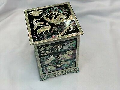 Korea Traditional Inlaid Mother of Pearl Handmade Chinoiserie Oriental Art Plate