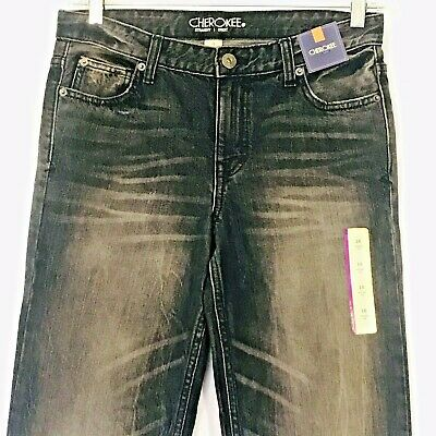 Cherokee Boys Jeans Straight Leg Fit Size 16 Adjustable Waist Medium Wash