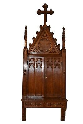 """Unique Antique French Gothic Wall Cabinet, 95"""" Tall, Narrow, Turn of the Century"""