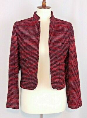 Austin Reed Womens Blazer Jacket Size 8 Petite Black Red Tweed Sparkle Wool Open 22 99 Picclick
