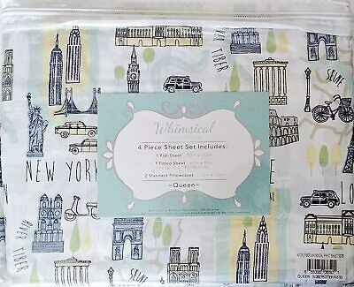 4pc Paris KING Flannel Sheet Set Blush Pink Gray Rose Stamps Clocks Oakwood NEW