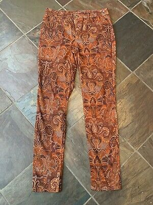 NWT $99 Chico's Platinum Painted Deco Floral Jeggings Red Multi-Color