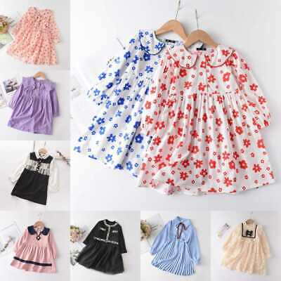 Kids Baby Girls Long Sleeve Dress Skirt Autumn Princess Party Dresses Age 1-8Y