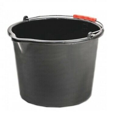 Black Plastic Bucket 20L 16L Metal Handle with Grip Storage Container Feeding