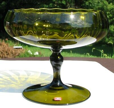EMPOLI ITALY COMPOTE in Olive green Mid Century Modern hand blown fluted optic glass 1960s Mad Men Era coffee table candy dish art glass