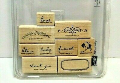 Stampin/' Up Wood-Mount Rubber Stamp Set Noteworthy