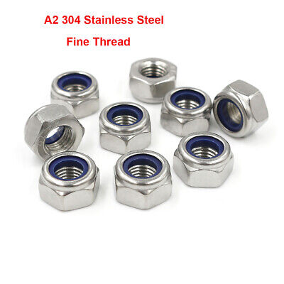 Fastener Nuts A2 Stainless M8-M20 Fine Pitch Thread Hex Nyloc ...