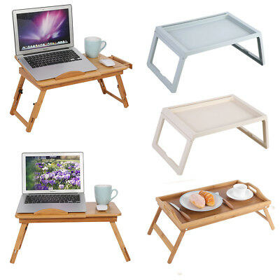 TORIBIO Home Bamboo Multifunctional Lap Desk Breakfast Serving Bed Tray with Foldable Legs,White