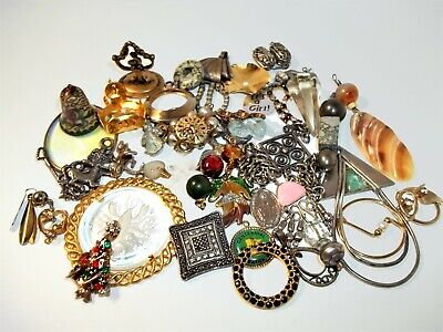 Vintage Earring CRAFT LOT Junk Drawer 5 Pounds Silver tone Gold tone SCOOP MIX