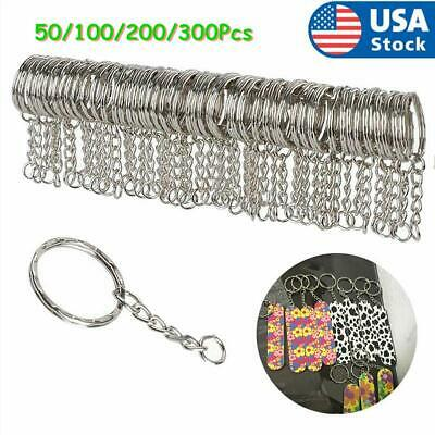 50pcs Silver Tone Findings Split Rings Keyring Blanks Key Chains With 4 Link 2h