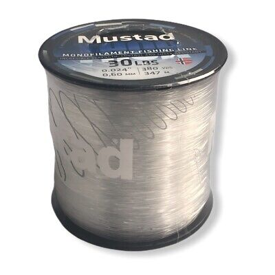 """Mustad Thor 30-LBS MONOFILAMENT FISHING LINE CLEAR 0.024/"""" 0.60MM 380YDS 347M HQ"""