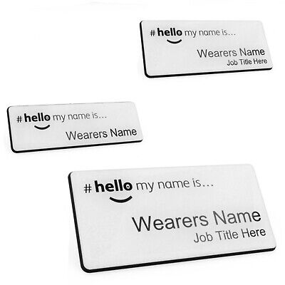 Hello My Name Is Premium Durable Personalised Name Badges Magnet Lt Blue White