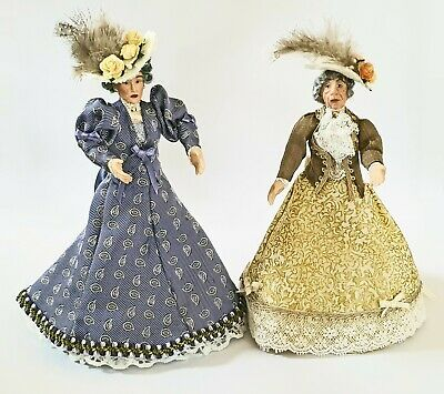 Porcelain Victorian Lady in Burgundy Dress /& Hat 1.12th Scale Doll