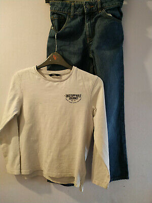 JRCW69)Age 9-10 years boys top & jeans George white top & blue jeans USED