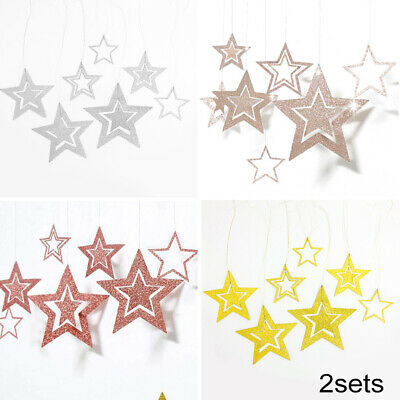 Details about  /Xmas Hollow Paper Star Hanging Christmas Bar Ceiling Wedding Party Home Decor