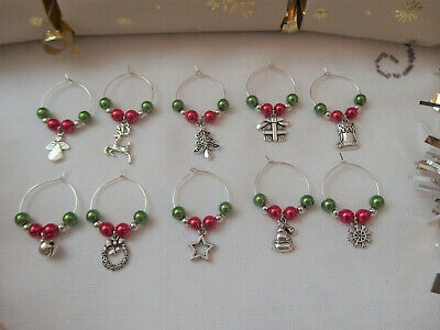 Wine Prosecco Glass Charms X 6 Secret Santa Christmas Decoration Office Gift