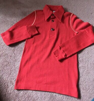Vintage 1970s Deadstock Red Wool Blend Polo Shirt 8 Years