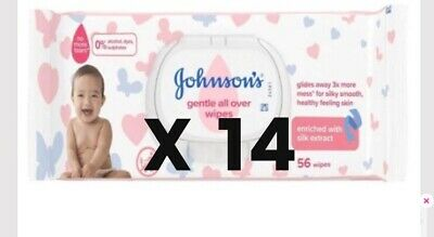 5 x johnson baby Wipes Sensitive wipes 56s gentle all over  Cleansing Wipes