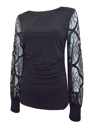 Coast Ladies Black Lace Puff Sleeve Jersey Top Ruched Front Sizes 6-18 Brand New