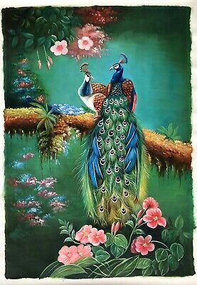 CHOP176 100/% hand-painted modern peacock abstract art oil painting on canvas