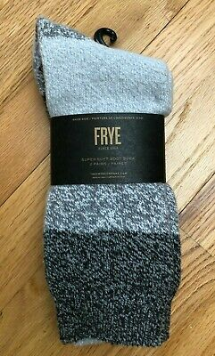 FRYE Marled Ribbed Boot Socks 2 Pairs Womens size 5-10 Black Red Ivory NWT