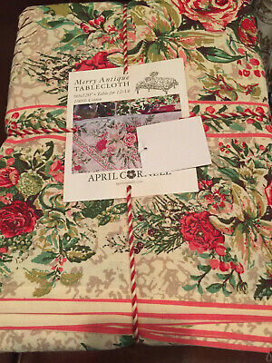 April Cornell Floral Holiday Tablecloth Merry Antique 100/% Cotton 60 x 104 Obl.