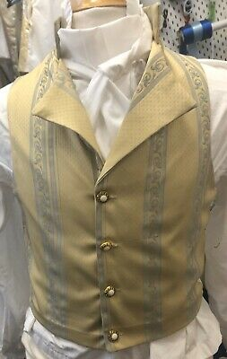 Regency Style Waistcoat In Yellow And Blue Brocade Made To Order