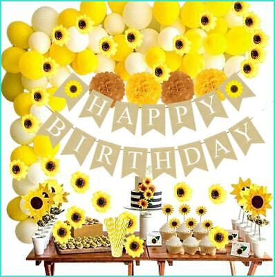 Sunflower Banner 105 PCS Sunflower Birthday Decorations Sunflower Party Supplies Artificial Sunflower Garland Sunflower Cake Toppers,Sunflower Balloons for Birthday Party Wedding Baby Shower Decor