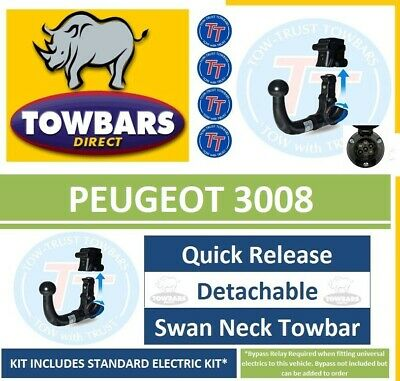 Detachable Swan Neck PCT Towbar for Peugeot 3008 Crossover SUV 2009-2016