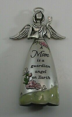 """NEW Pewter /""""Mom is a guardian angel on earth/"""" Hanging Angel from Ganz"""