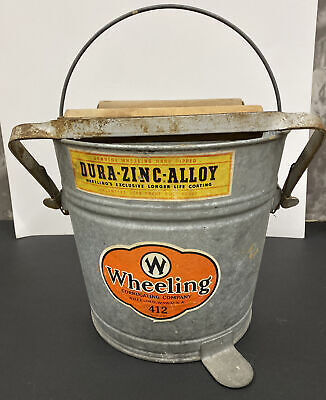 Mid Century Eagle #22 Mop Bucket Wood Rollers Foot Wringer Pedal Works Holds Water Galvanized Mop Pail Distressed Rusty Metal Spots
