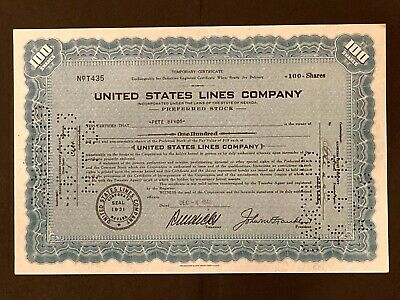 United States Lines Co Preferred Stock Temporary Certificate (December 8, 1941)
