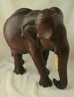 Antique C 1890 Hand Carved & Inlaid Solid Mahogany Wood Elephant #2