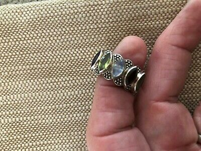 FA334 Vintage Sterling Multi-Stone Ring Size 7.