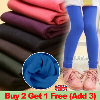 Kids Girls Winter Warm Fleece Lined Thick Leggings Thermal Pants Trousers 3-12 Y
