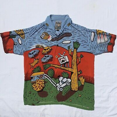 Flaming Motorbike Large RARE MAMBO LOUD SHIRT Australian Hawaiian