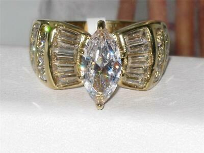Gold cluster ring long cz clear steel 18kt ladies sparkling 4 carat new 1879