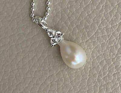 Sterling Silver Teardrop Pearl Blister Shell Pendant Necklace Statement Stainless Steel Cable Chain Jewelry