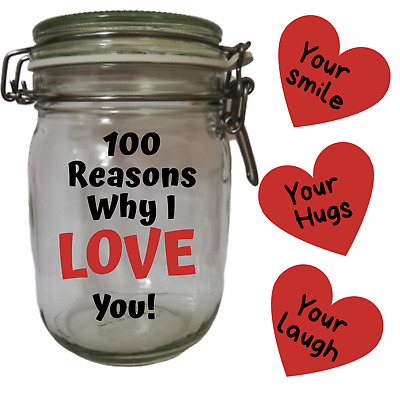365 Reasons Why I Love You Jar Gift Valentines Day Anniversary Christmas 26 00 Picclick Uk