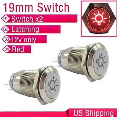 2X Durable 19mm Car Push Gray Latching Button Green LED Driving Light Switch
