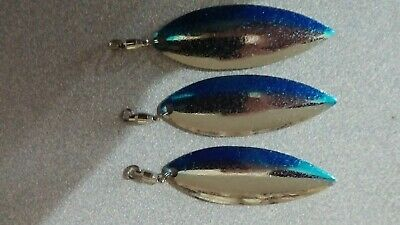 3 SZ 4.5 SMOOTH WILLOW LEAF SPINNERBAIT  BLADES BLUE WITH SILVER FLAKE
