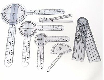 Set of 6 Piece Spinal Finger Goniometer Protractor Ruler 360 Degree 12 inch 8...