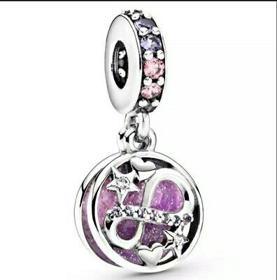 Charm Argent S925 coeur infini rose Neuf