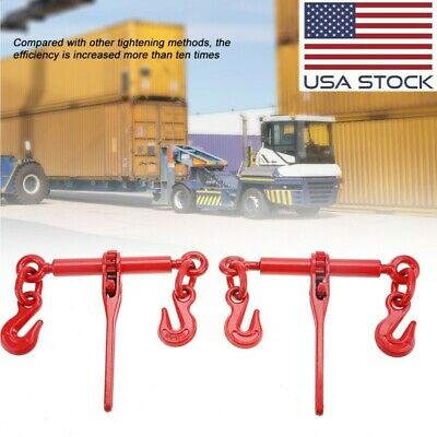 "2Pcs Ratchet Load Lever Binder 1/4 - 5/16"" Chain Hook Tie Down Rigging Equipment"